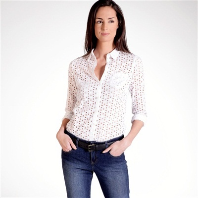 Long-Sleeved Fitted Broderie Anglaise Shirt [La Redoute].: Anglai Shirts, La Reodut, Shirts La, Chemistry, The Redout, Eyelet, Anglaise Shirts