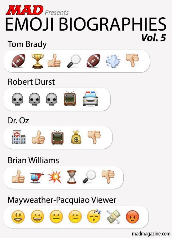 MAD Magazine Emoji Biographies, Vol. 5 Idiotical Originals, Emoji Biographies, Tom Brady, Deflate Gate, Robert Durst, Dr. Oz, Brian Williams, Floyd Mayweather, Manny Pacquiao, Snail Olympics Scandals