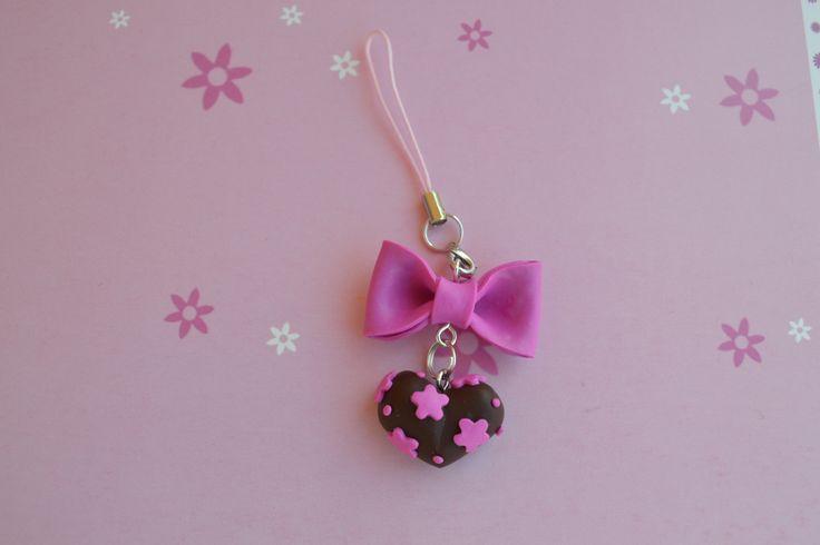 Fiocco rosa con cuore pan di stella rosa per cellulare,phostrap polymeryclay