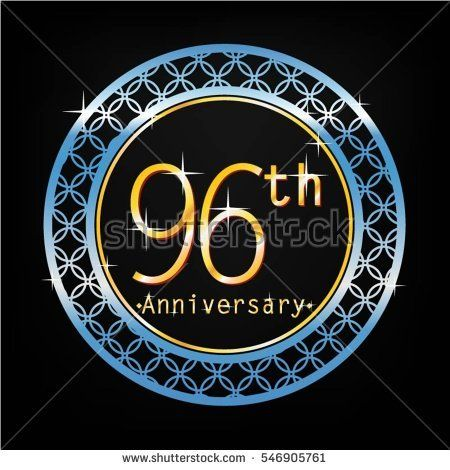 black background and blue circle 96th anniversary for business and various event