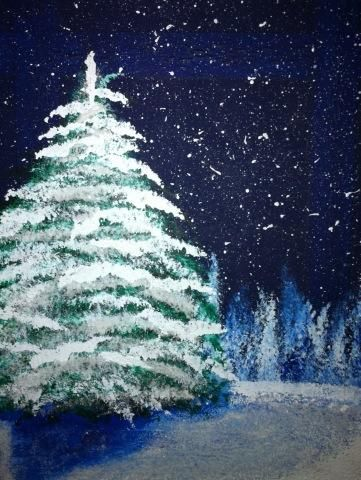 "winter painting...this one makes me think of Bob Ross and his ""happy little trees"""