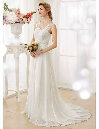 A-Line V-neck Court Train Chiffon Lace Wedding Dress with Beading Appliques Button by LAN TING BRIDE®