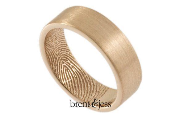 Example of fingerprint on rose gold  (14K Rose Gold Fingerprint Wedding Ring with TIP Print on the Inside 6mm)