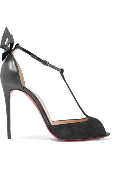 Christian Louboutin - Aribak 100 Bow-embellished Leather And Suede T-bar Sandals - Black - IT38