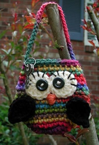 Little Owlie Key Pouches - I have the perfect yarn for this!: Owli Keys, Crochet Ideas, Owl Purses, Crochet Bags, Pouch Patterns, Keys Pouch, Crochet Owl, Owl Bags, Crochet Knits