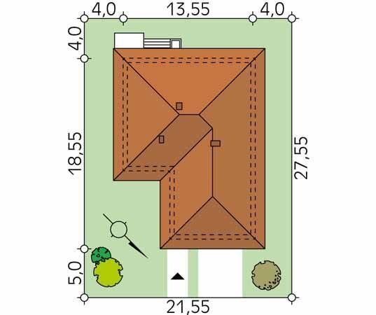 Projekt domu Kiwi 4 - usytuowanie na działce