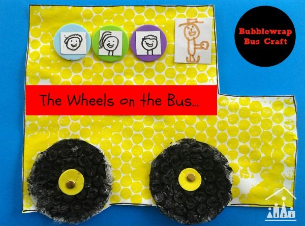 wheels on the bus bubblewrap craft