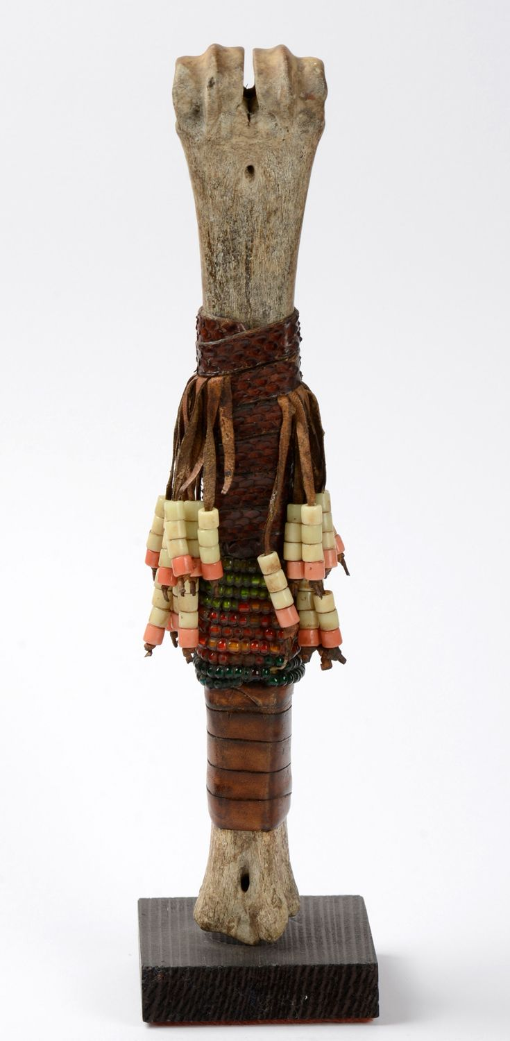 Africa | Doll from the Fali people of Cameroon | Thigh bone of an animal, reptile skin, glass beads