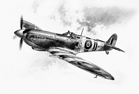 Ace of Aces (pencil) - Pencil Sketches - Aviation Art by Geoff Nutkins