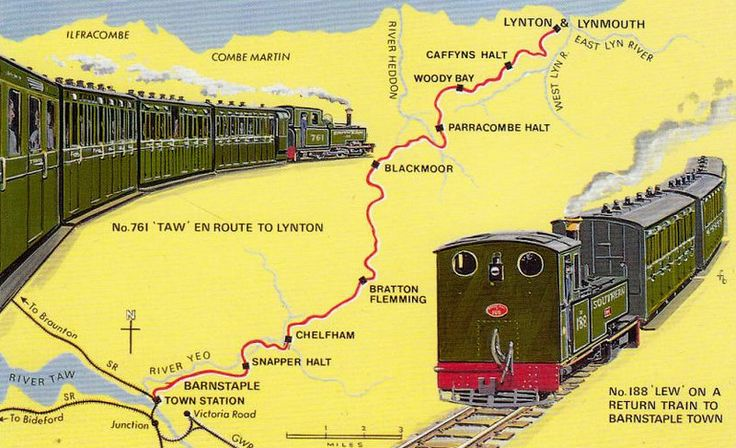 LYNTON & BARNSTAPLE RAILWAY - a map of the railway from Barnstaple Town to Lynton & Lynmouth.