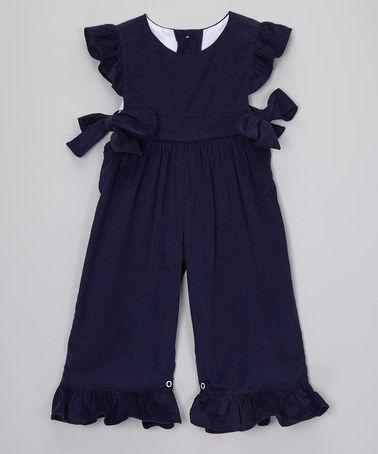 Look at this #zulilyfind! Navy Corduroy Romper - Infant, Toddler & Girls by Smock Candy #zulilyfinds