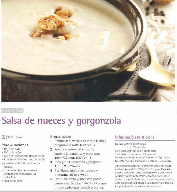 Salsa de nueces y gorgonzola. Thermomix #recetas #thermomix