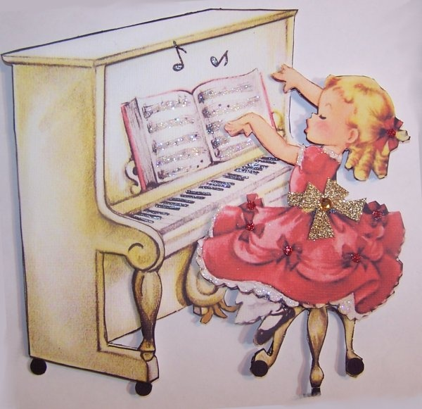 Vintage Girl playing Piano Card Topper - Scrapbook.com ...