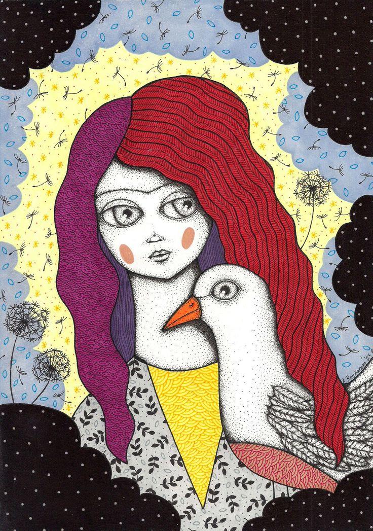 lady with birdie