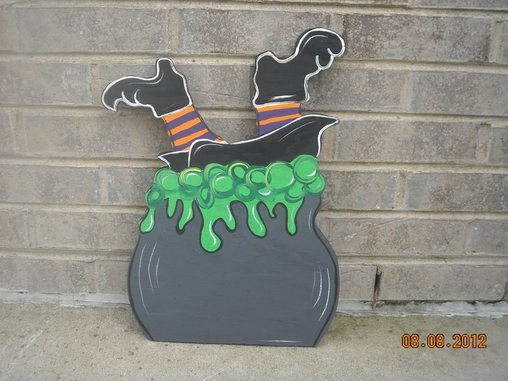 Halloween Wacky Witch that fell into her boiling cauldron, Wood Lawn Ornament/Yard Art. $20.00, via Etsy.