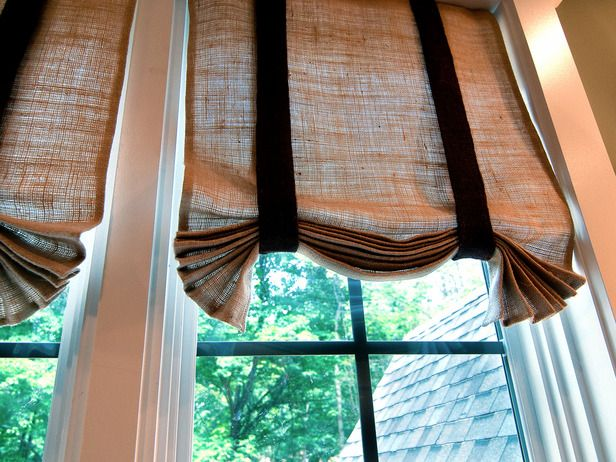 DIY burlap curtains for the sewing room