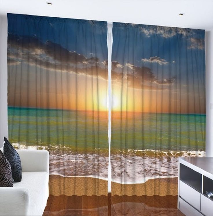 Sunset on the beach Custom Made Design and Made to Order Nautical Theme Curtain Panel, Set of 2 $79.00