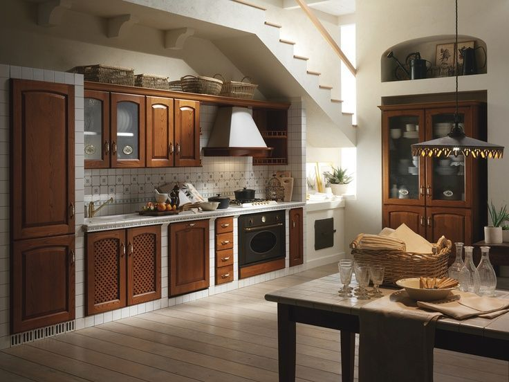 Traditional Kitchen with Hardwood floors, American Olean Starting Line White Gloss Ceramic Wall Tile, Custom hood, Stone Tile