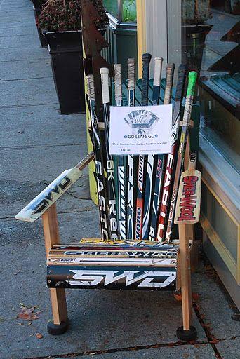 @Wayne Shepherd something about this just made me think of you. lol  Muskoka chair, Adirondak chair .  Looks like hockey and goalie sticks?