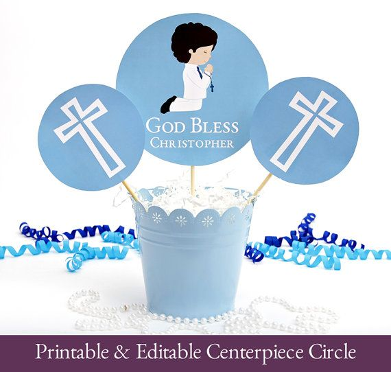 First Communion Centrepiece Printable, First Communion Printable, Holy 1st Communion Circle Centerpiece, YOU EDIT TEXT with Adobe Reader      #Holy1stCommunion #CommunionPrintable #printable #1stCommunion #CommunionDecor #Communion #CommunionParty #centerpiece #FirstCommunion #CommunionCircle