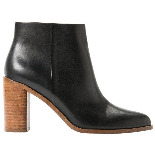 MANGO Heel Leather Ankle Boot ($90) ❤ liked on Polyvore featuring shoes, boots, ankle booties, wooden heel booties, ankle boots, short leather boots, wooden heel boots and side zip boots