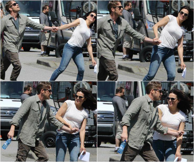 Lana & Sean playing around on set (July 17, 2015) <3