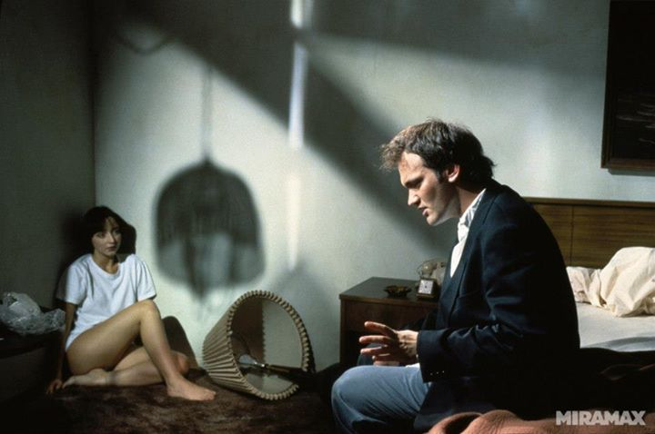 Behind the scenes of Pulp Fiction: Rosanna Arquette and Quentin Tarantino.