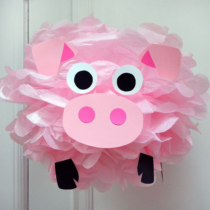Pink Pig - Tissue Paper Pom Pom Kit by PomLeMoose on Etsy https://www.etsy.com/listing/494350724/pink-pig-tissue-paper-pom-pom-kit
