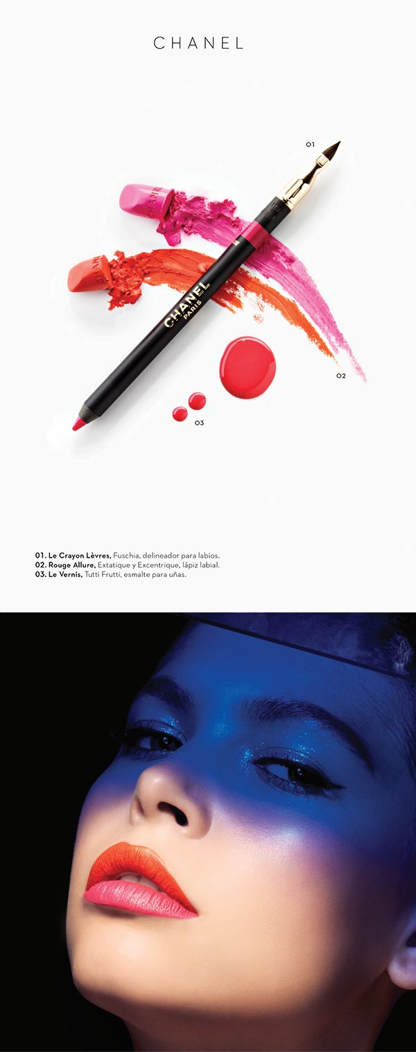 Perfect make up editorial. One page for make up itself, one for the products. And delicate graphic design.