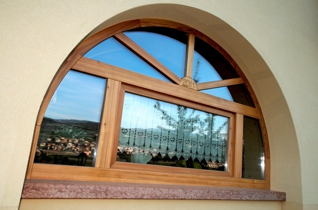 Outdoor window made of larch.