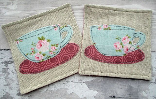 Rose Tea Cup Coasters - Fabric Drinks Coasters - Shabby Chic Coasters £12.00