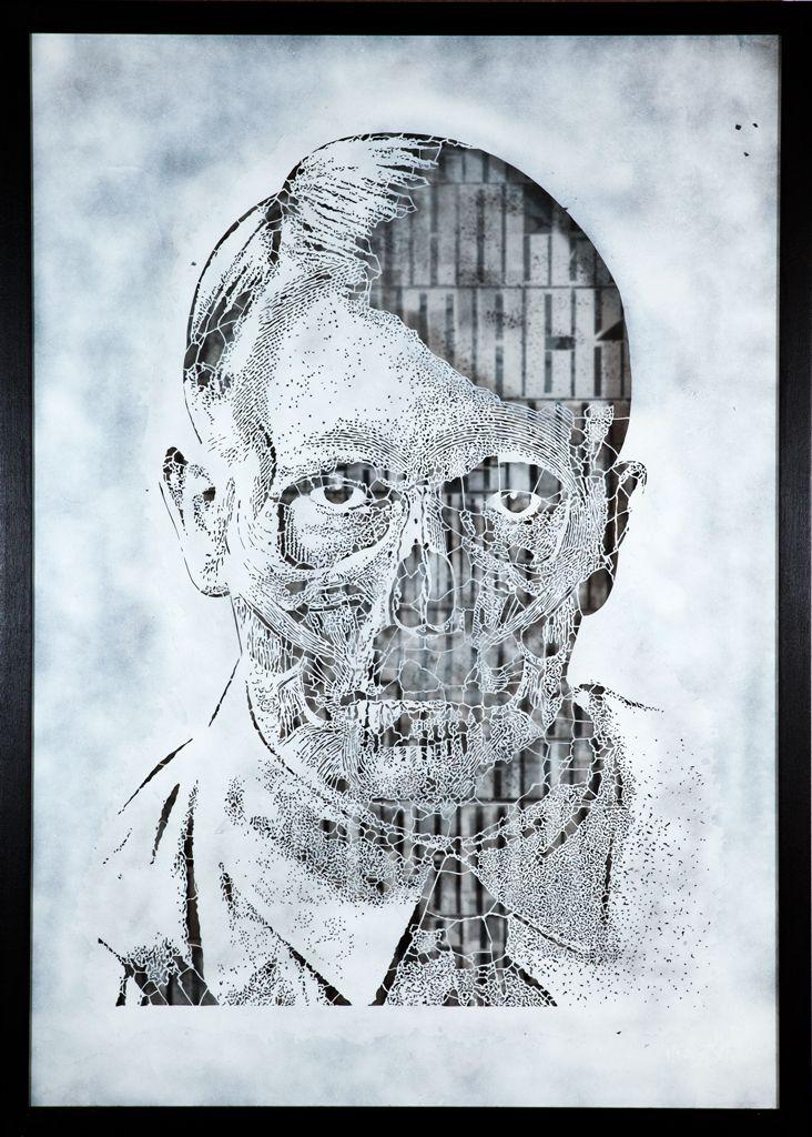 SOLD : Orticanoodles, Portrait of Adolf Hitler, Stencil Matrix, 100x70cm, 2012 - Traffic Gallery [SOLD]