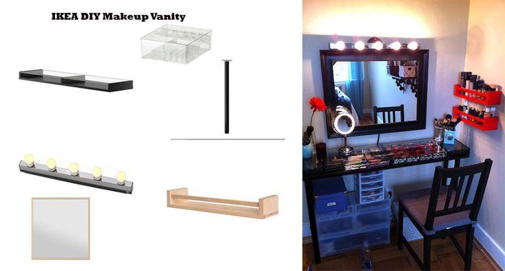 ikea diy makeup vanity makeup pinterest. Black Bedroom Furniture Sets. Home Design Ideas