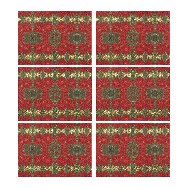 Red & Gold Poinsettia Pattern Placemat 14'' x 19'' (Six Pieces) l Four pieces also available.