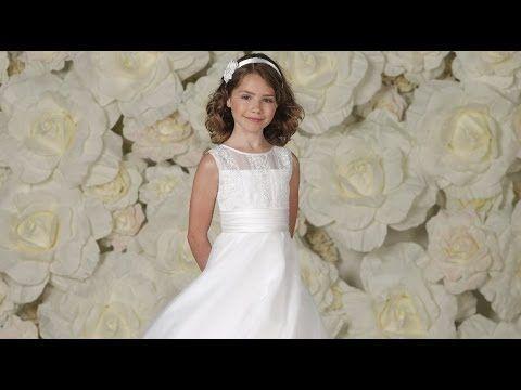 Joan Calabrese Designer First Communion Dress with Lace Appliquéd Bodice - JCC3344