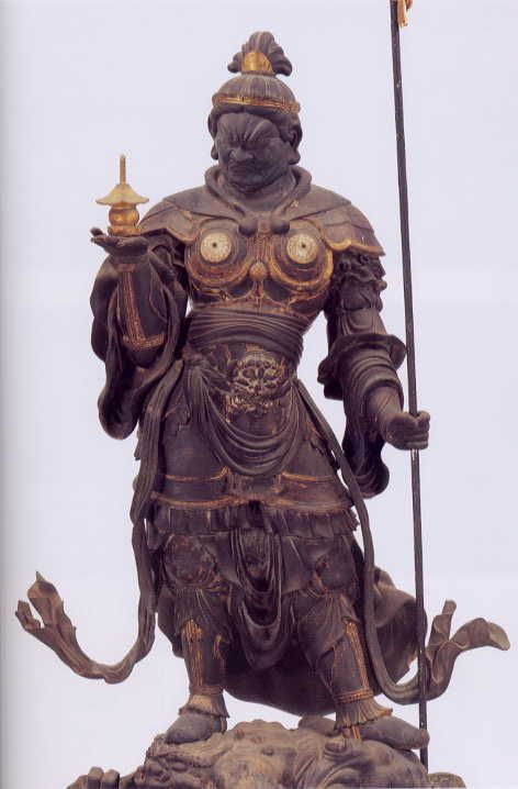 Japanese, Bishamonten is the god of warriors (but not of war) and prayed to for victory prior to battle. Defender of the Nation, Guardian of the Dharma (Buddhist Law), and Lord of Wealth and Treasure (hence his inclusion in the Japanese group of Seven Lucky Gods). Bishamon-ten is neither a Buddha nor a Bodhisattva. Bishamonten is a deva (a Sanskrit term meaning celestial being or demigod).