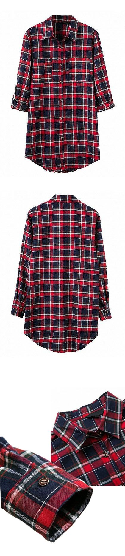 Multicolor Plaid Pocket Roll-up Sleeve Shirt, very simple designs are always not out of date. For those like simple design fashions.