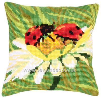 Buy+Ladybug+on+Camomile+Cushion+Front+Chunky+Cross+Stitch+Kit+Online+at+www.sewandso.co.uk