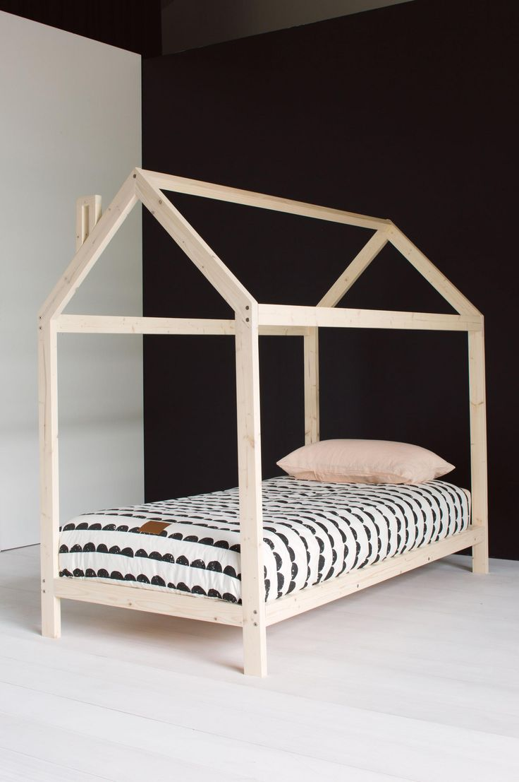 childs wooden house bed frame kids room pinterest