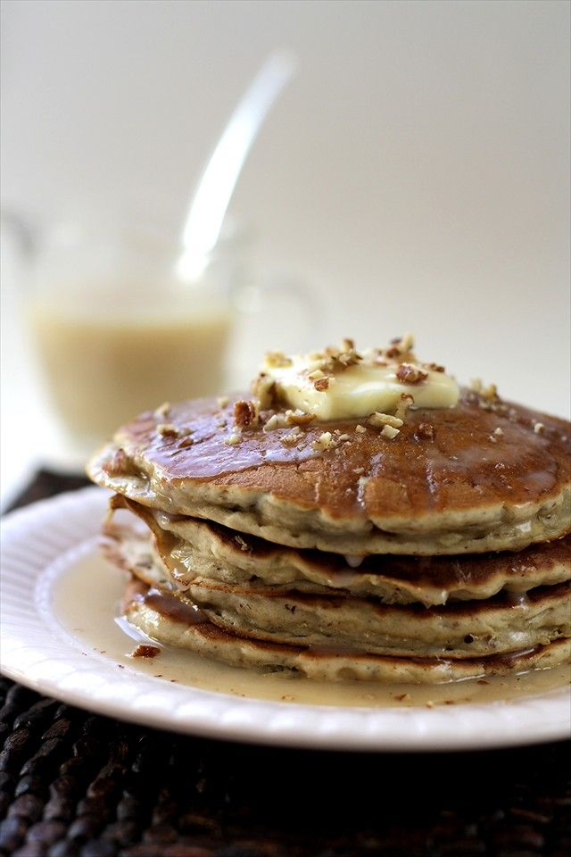 Banana Pecan Pancakes with Homemade Butter Syrup www.ButterwithasideofBread.com #pancakes #breakfast