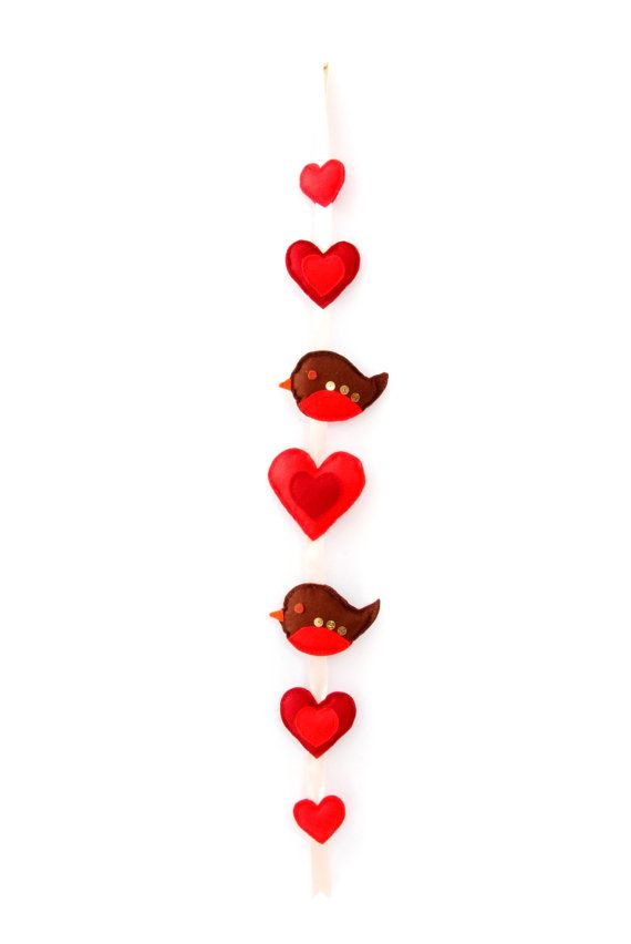 Robin and Hearts Handmade Felt Wall Hanging by ButtonOwlBoutique, £21.00