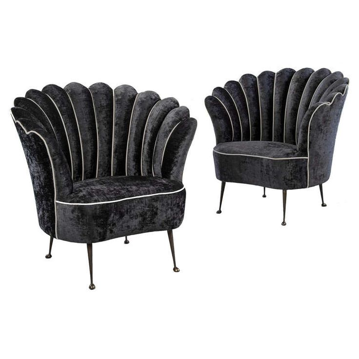 Pair of Scalloped Italian Armchairs with brass legs | From a unique collection of antique and modern bergere chairs at http://www.1stdibs.com/furniture/seating/bergere-chairs/
