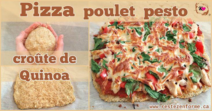 Pizza santé avec croûte de quinoa au poulet et tomates séchées