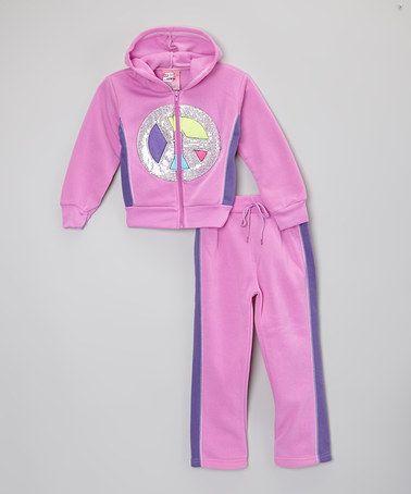 Look what I found on #zulily! Purple Peace Hoodie Set - Toddler & Girls #zulilyfinds