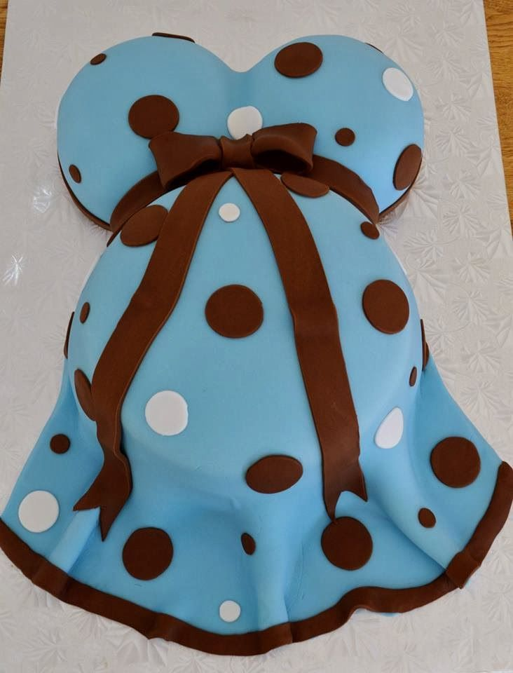 Baby Shower Baby Bump/ Pregnant Belly Cake Ideas - Brown and blue cake made by Marietta's Cakes | CraftyMorning.com