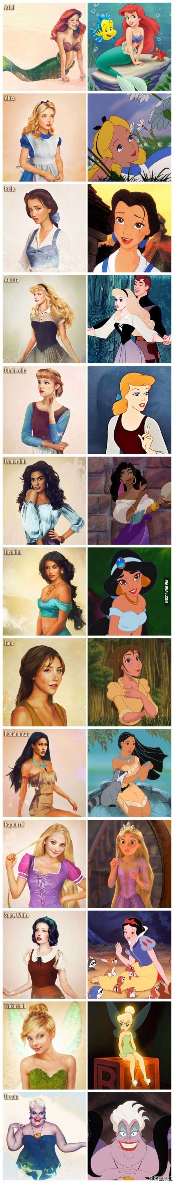 Realistic Disney characters - Cute! Even Ursula at the bottom-- glad they included a bad girl!