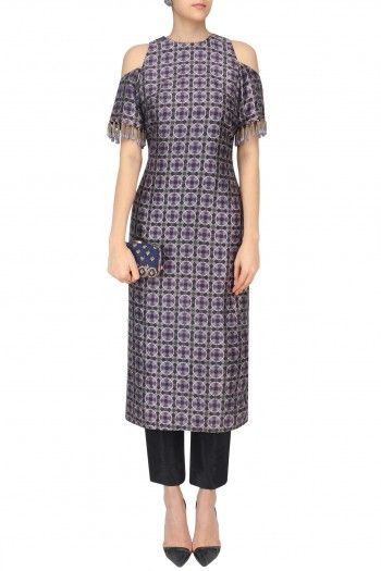 Arpita Mehta Black Geo Print Cold Shoulder Kurta and Pants Set #happyshopping #shopnow #ppus