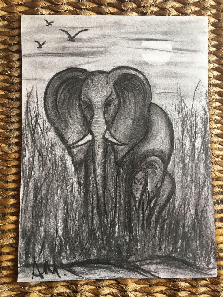 """""""Elefanti"""" Carboncino su carta"""