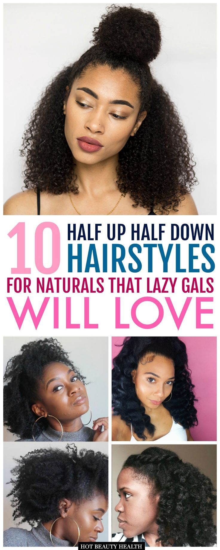 10 easy half up half down hairstyles for black women. African Americans sportin' their natural hair will love these quick and easy styles from half up half down hair with a top knot, braids, straight hair, updo, twists, and curls. Great casual styles for everyday. If you have short, medium length or long hair (with or without extensions), click pin for the list of step by step tutorials! Hot Beauty Health #hairtutorials #easyhairstyles