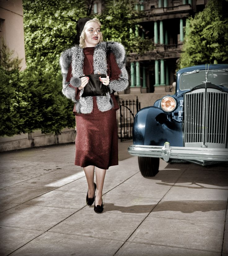 """Washington, D.C., circa 1937. """"Jane Grier."""" Pictured with a Packard near the old State, War and Navy building. Harris & Ewing Collection. Shorpy Historical Photo Archive :: Lush Life: 1937 (Colorized)"""